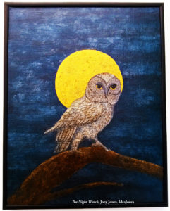 The first in a trio of planned paintings featuring owls, here an owl pauses before taking flight.