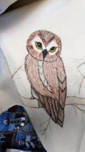 Detail from the beginning of a 9-foot painting of owls and their prey.