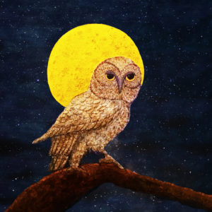 My second owl painting, The Night Watch. The first, Did Someone Say Lunch?, is on a market umbrella sold at a charity auction.