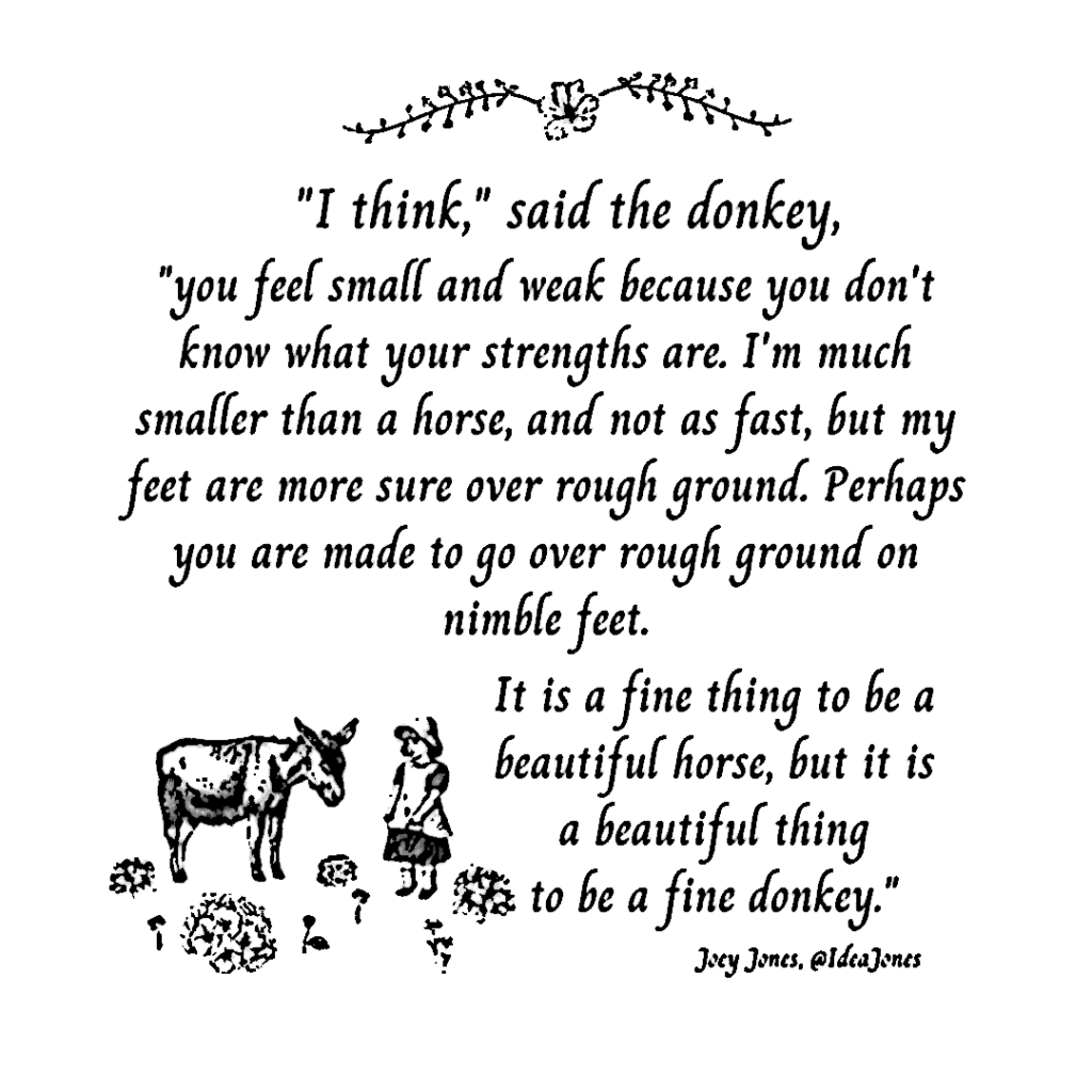Text, a very short story, with line drawings of a girl, flowers and a donkey.